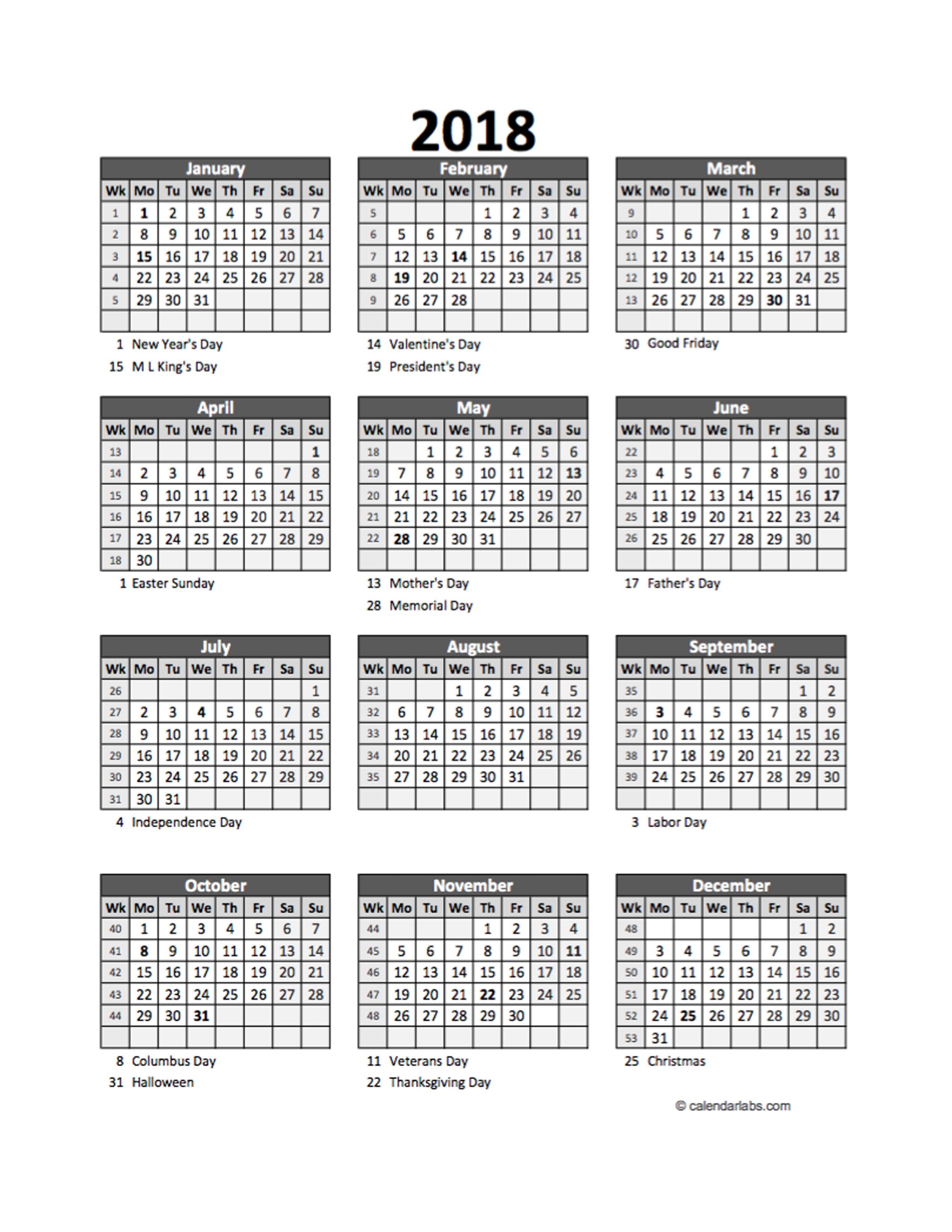 Calendar Labs Templates : Editable yearly spreadsheet calendar free printable