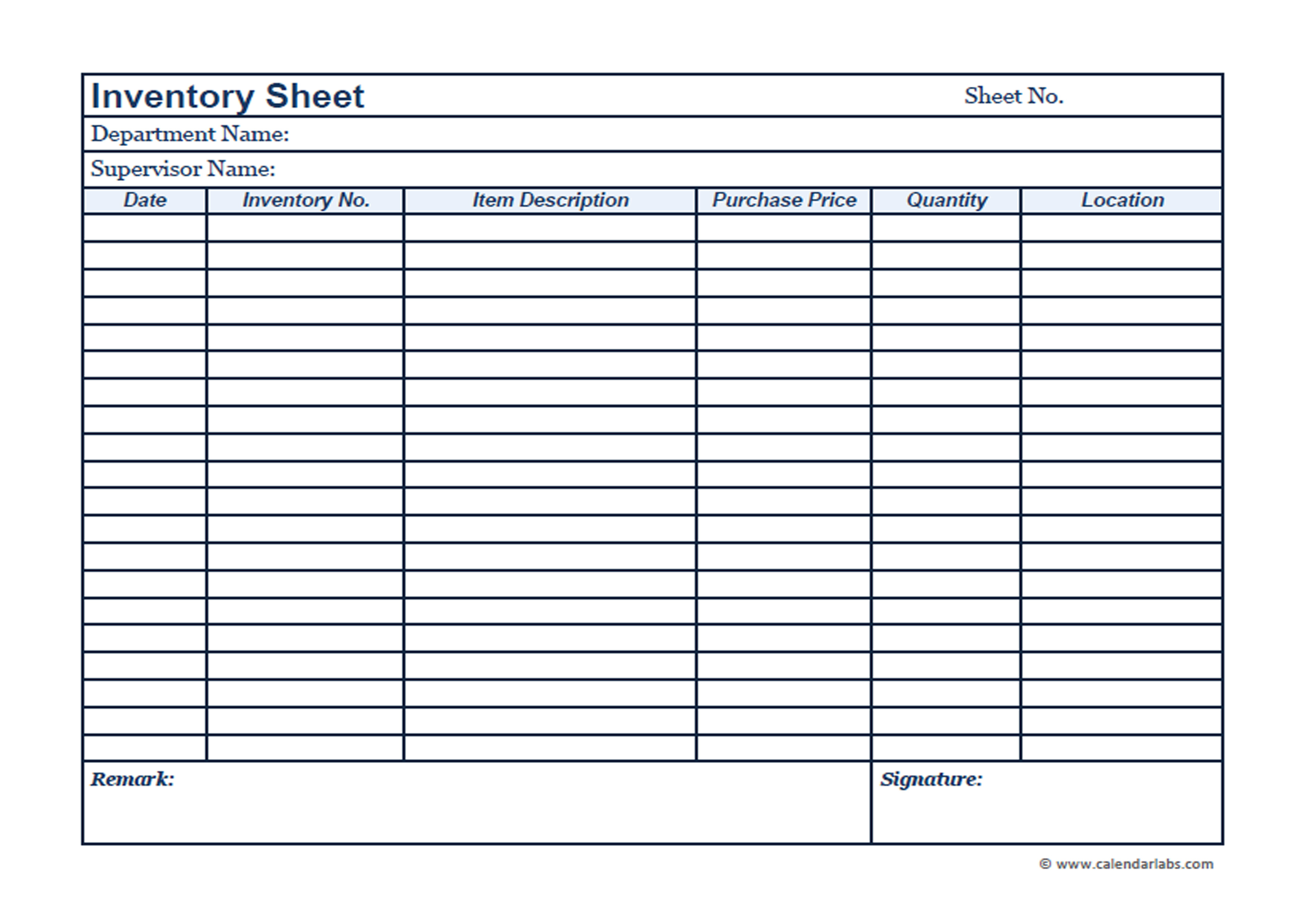 business inventory template