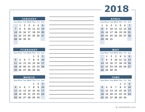 Blank Two Page Calendar Template For 2018 Free Printable Templates