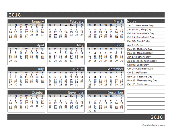 12-Month One Page Calendar Template for 2018