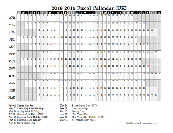 2018 Fiscal Year Calendar Free Printable Templates
