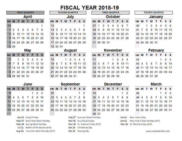 2018 2019 fiscal calendar uk template free printable templates