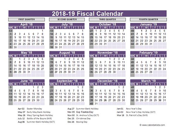 Uk Fiscal Calendar Template 2018 19 Free Printable Templates