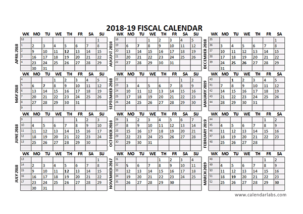 2018 Fiscal Calendar Template Starts at April