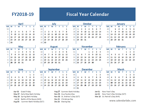 2018 fiscal year calendar template uk free printable templates
