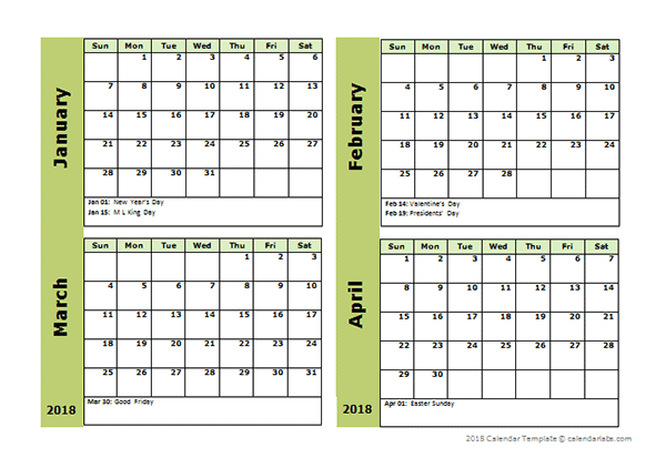2018 Four Month Calendar Template - Free Printable Templates