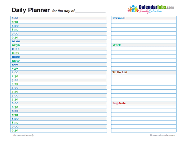 Beautiful 2018 Family Day Planner Throughout Day To Day Planner Template Free