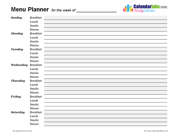 2018 Weekly Menu Planner Free Printable Templates