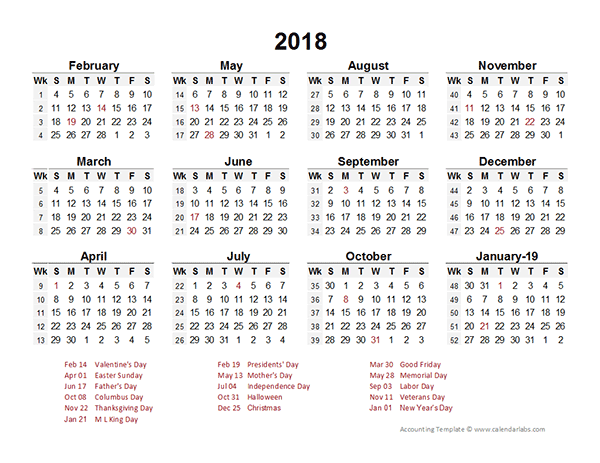 2018 Accounting Period Calendar 4-4-5