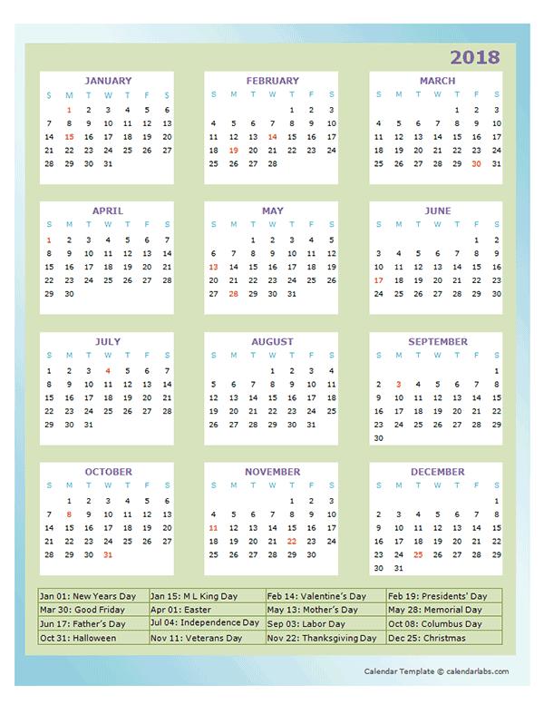 Calendar Typography Template : Annual calendar design template free printable