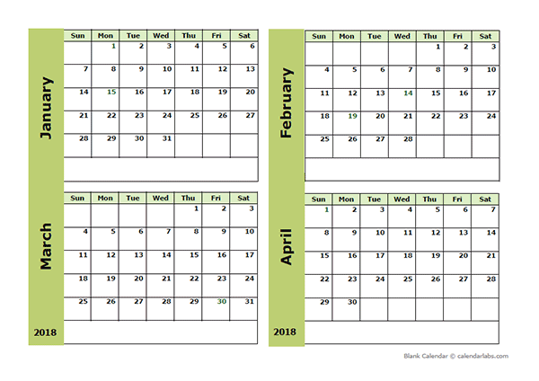 2018 Blank Four Month Calendar Free Printable Templates