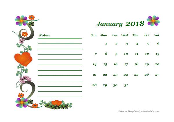 2018 Blank Calendar Design Template - Free Printable Templates