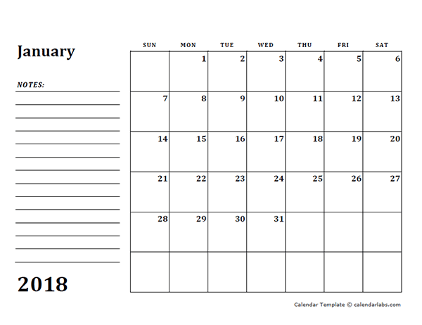 2018 Blank Calendar Template With Notes Free Printable Templates