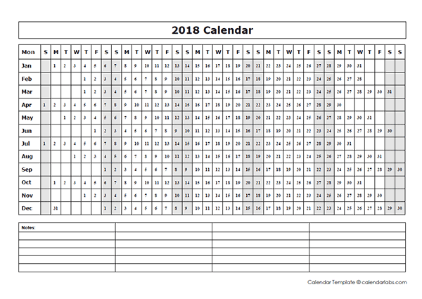 2018 blank year at a glance calendar free printable for Day at a glance calendar template