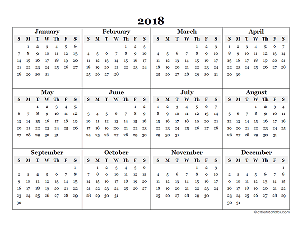 2018 blank yearly calendar template