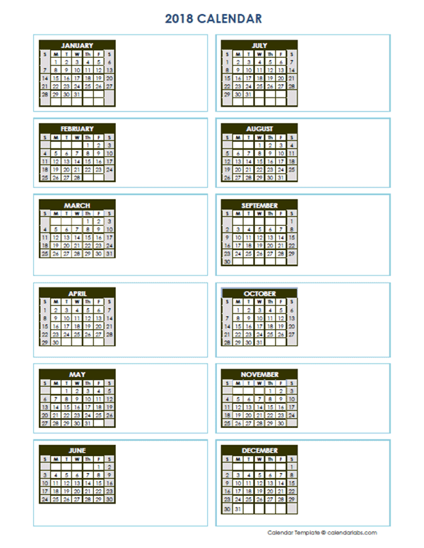 2018 Blank Yearly Calendar Vertical Template