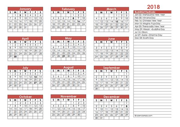 2018 Buddhist Festivals Calendar Template