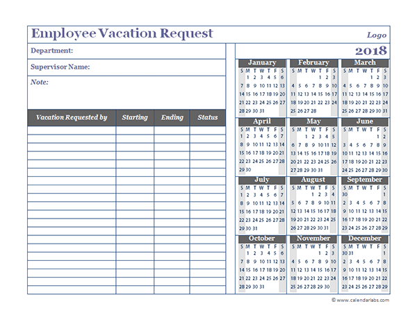 2018 Business Employee Vacation Request - Free Printable Templates