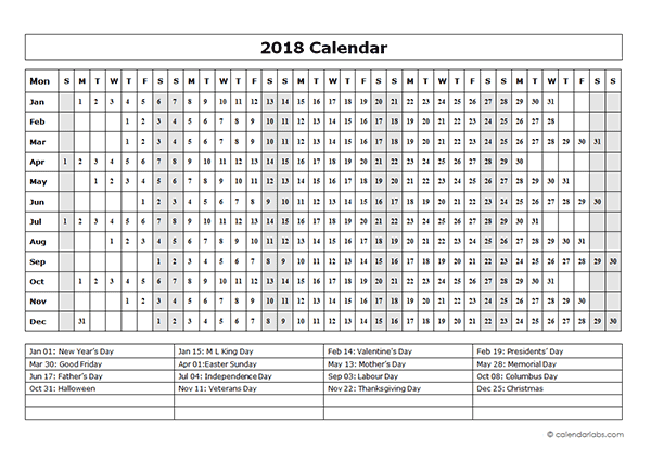 2018 calendar template year at a glance free printable templates