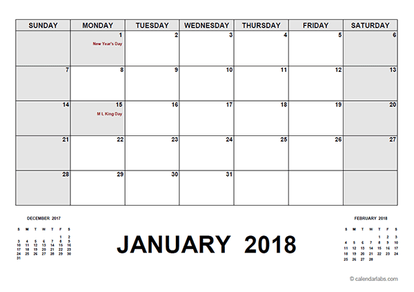2018 Calendar With Holidays Pdf Free Printable Templates