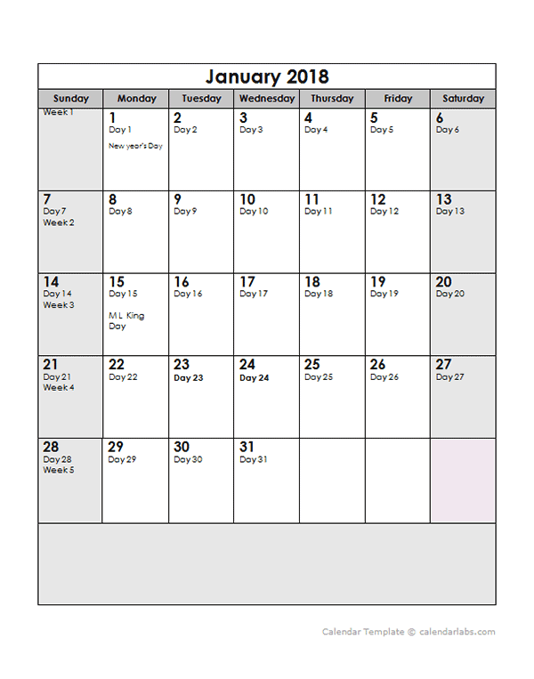 2018 Yearly Julian Calendar   Free Printable Templates