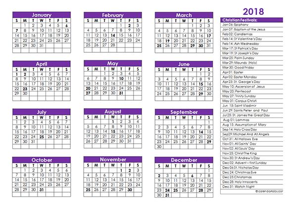 2018 Christian Festivals Calendar Template