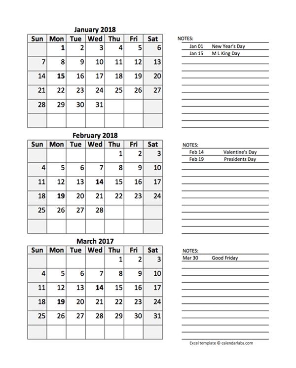 free 2018 quarterly calendar spreadsheet