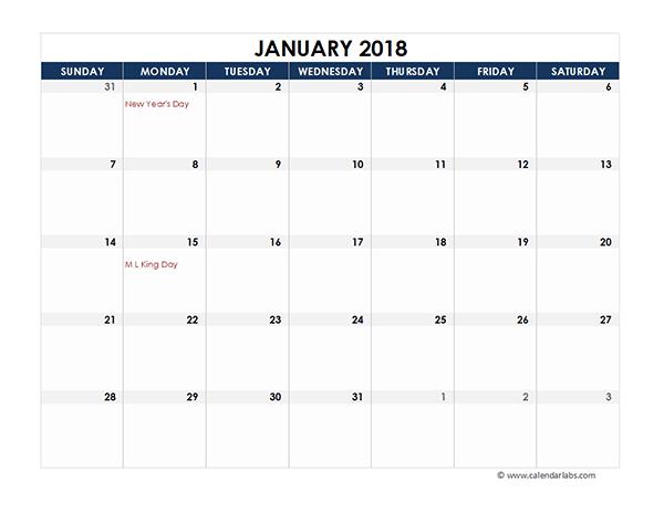 excel calendar 2018 templates - Geocvc.co