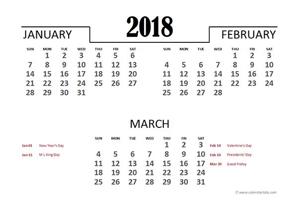 2018 Excel Quarterly Calendar Template