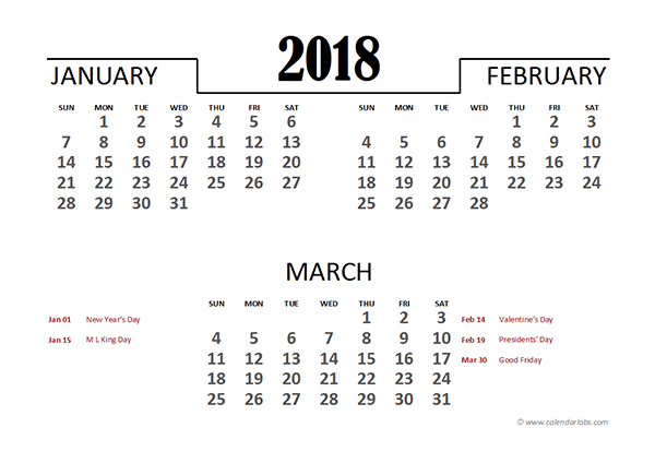 2018 Excel Quarterly Calendar Template Free Printable Templates