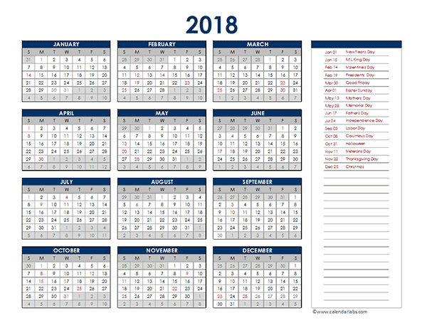 2018 excel yearly calendar free printable templates