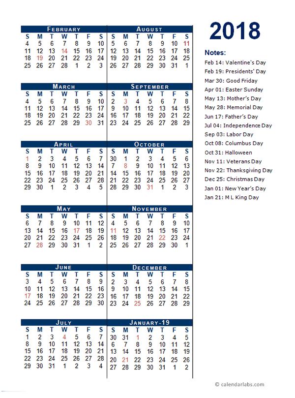 2018 Fiscal Period Calendar 4-4-5