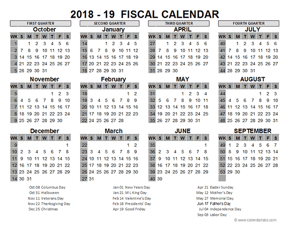 Fiscal Year Calendar Quarters : Us fiscal year template free printable templates