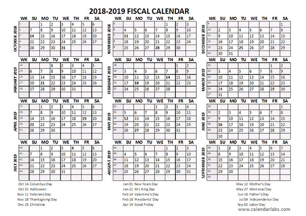 Fiscal Calendar 2018-19 templates
