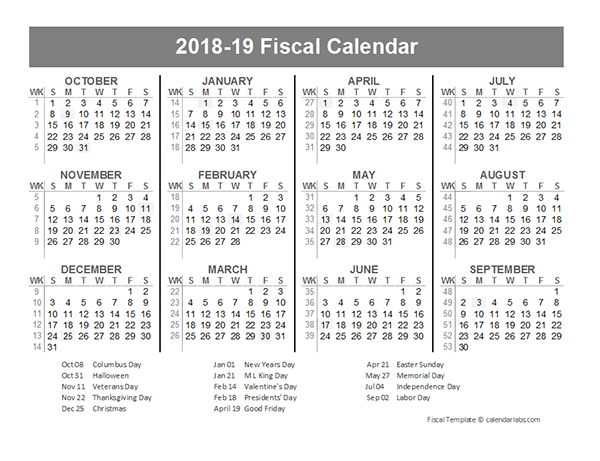 2018 Fiscal Year Quarters Template Free Printable Templates