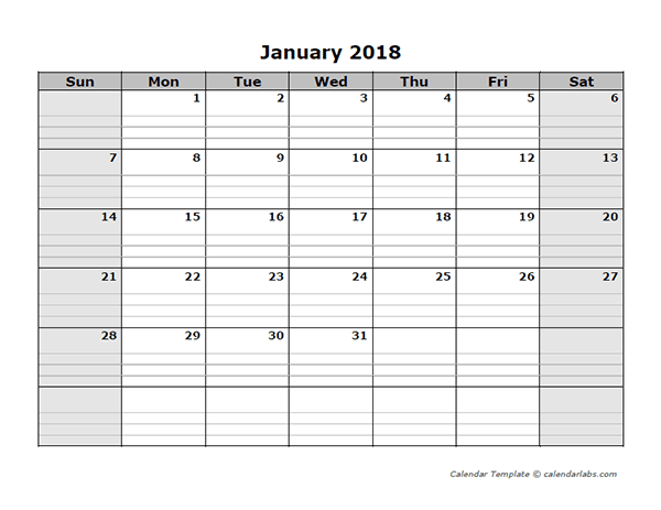 Free Printable Cl Schedule Template | 2018 Free Blank Calendar Free Printable Templates