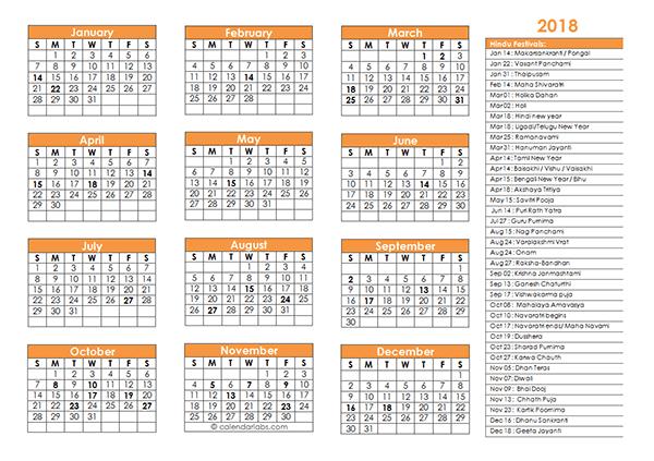 2018 Hindu Festivals Calendar Template - Free Printable Templates