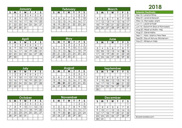 2018 islamic festivals calendar template