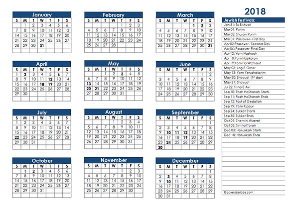 2018 Jewish Festivals Calendar Template - Free Printable Templates