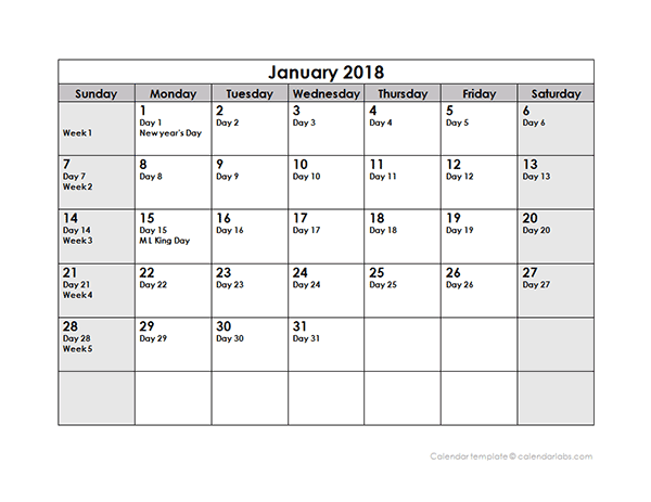2018 Julian Calendar   Free Printable Templates