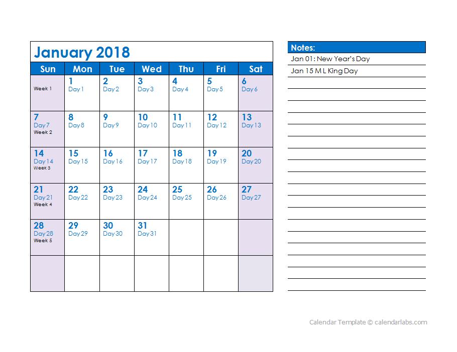 2018 Julian Date Calendar