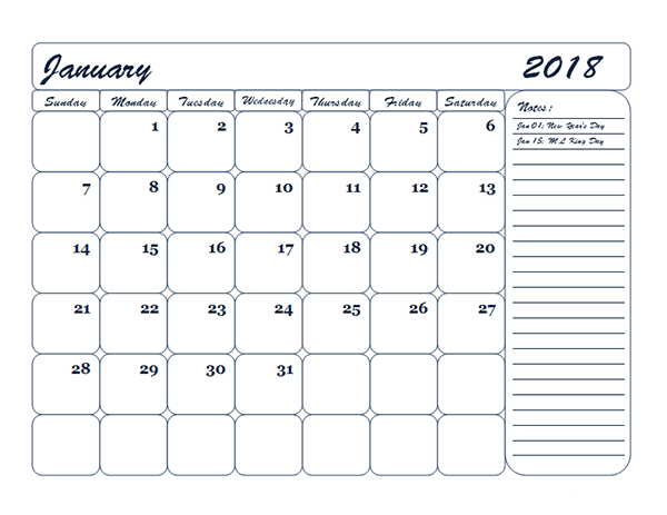 2018 Monthly Blank Calendar Template