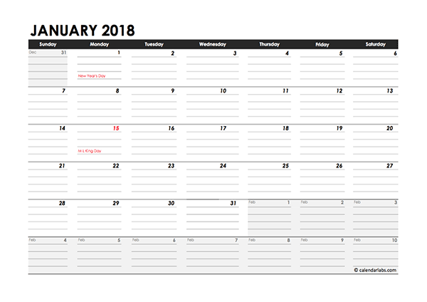 Editable 2018 Monthly Calendar Excel Template - Free Printable Templates