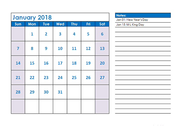 2018 free calendar with holidays