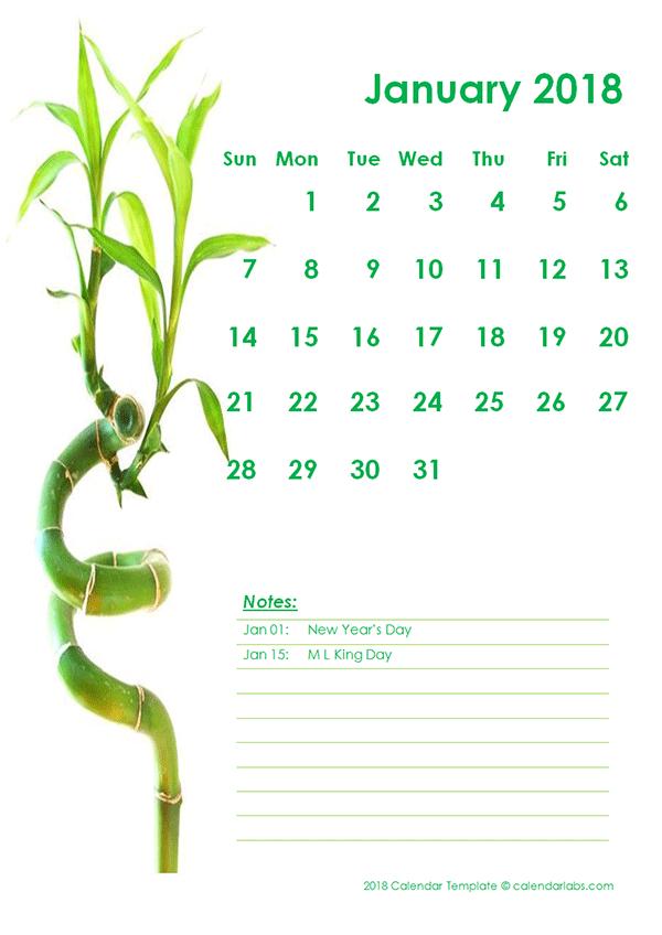 2018 Monthly Calendar Template Green Design