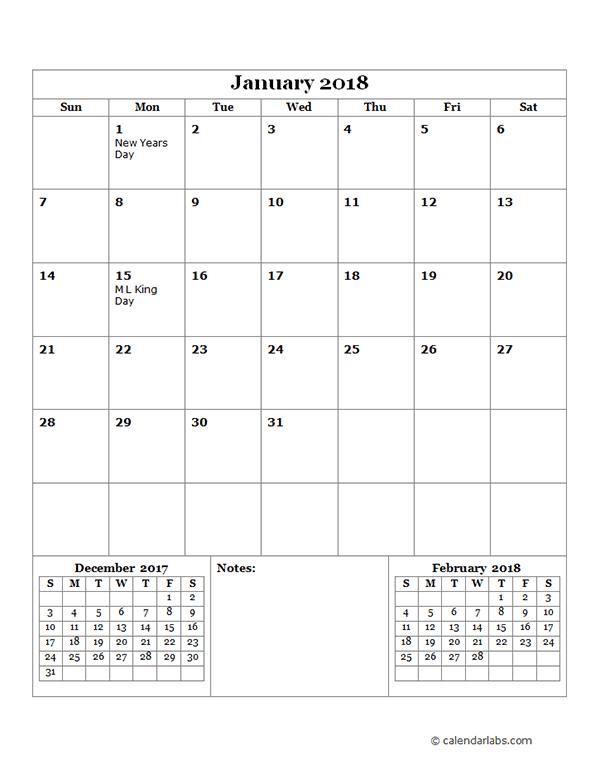 2018 monthly calendar template - Geocvc.co