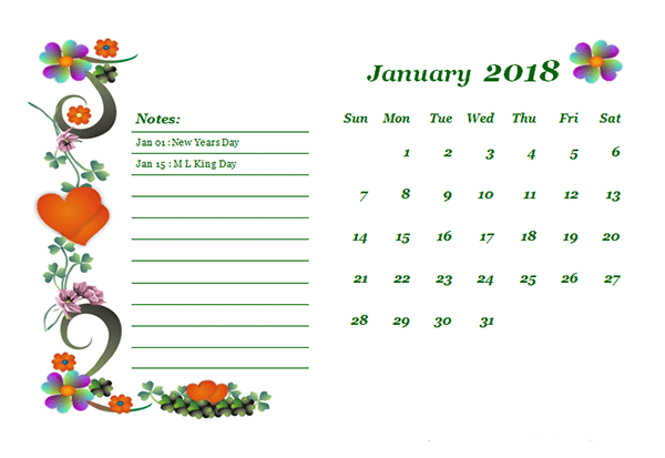 2018 Monthly Calendar Template Design Free Printable Templates