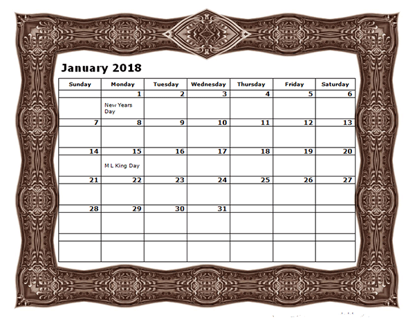 2018 Monthly Calendar Template with Frame Design