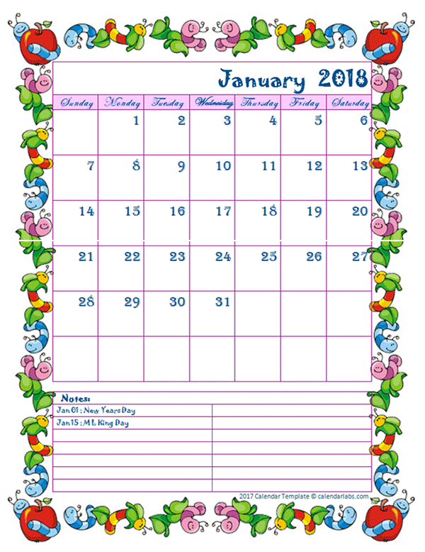 2018 Monthly Kid Kindergarten Calendar Template Free Printable