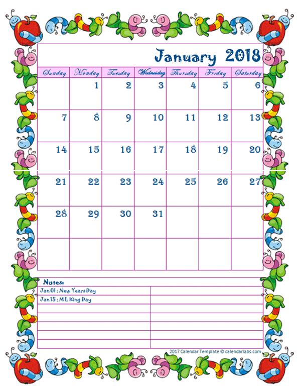 January 2018 Calendar Kids New   2018 January Calendar